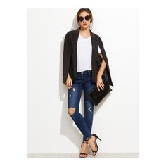 SheIn(sheinside) Black Shawl Collar Cape Blazer ($35) ❤ liked on Polyvore featuring outerwear, jackets, blazers, black, cape coat, blazer cape, blazer jacket, cape jacket and collar jacket