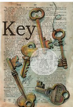 Key Mixed Media Drawing on Distressed, Dictionary Paper - flying shoes art studio
