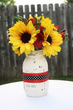 polka dot mason jar, painted mason jar, distressed mason jar