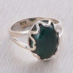 ANTIQUE 925 STERLING SILVER MALACHITE 4.54g FANCY ANTIQUE RING JEWELLERY R015605 #Handmade #RING