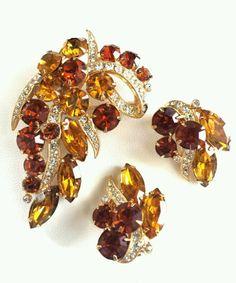 Vintage Eisenberg Clip on Earrings and Brooch Pin AMBER & TOPAZ Set