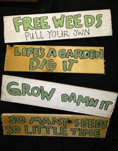 Something like these would be cute as totem pole street direction signs.....Garden yard art