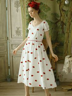 Strawberry Embroidered Puff Sleeve Vintage Cotton Dress – Jolly Vintage Vintage Cotton, Cotton Dresses, Vintage Dresses, Strawberry, White Dress, Sew, Summer Dresses, Sleeves, Women