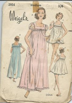 1960s vintage nightgown pattern by Weigels  by aplethoraofpatterns, $12.00