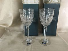 2 Waterford Hanover Platinum Goblets SIGNED NIB w/Tags Marquis Collection #WaterfordMarquis