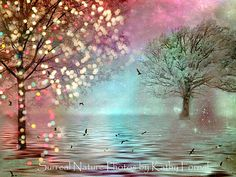 Teal Nature Photography Pink Aqua Teal Sparkle by KathyFornal, $30.00