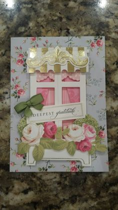 By Sandy Goldstein with Anna Griffin papers. Anna Griffin Inc, Anna Griffin Cards, Scrapbooking Layouts, Scrapbook Cards, Windows 1, Window Ledge, Window Cards, Favorite Pastime, Shaker Cards