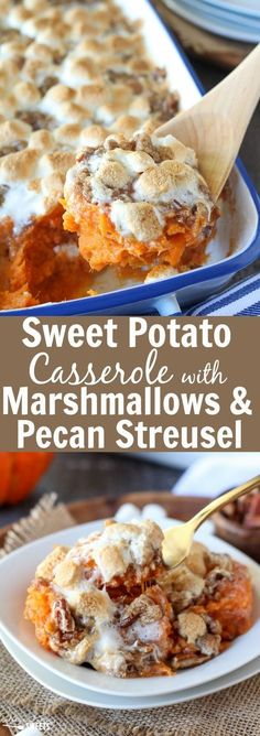 Sweet Potato Casserole with Marshmallows and Pecan Streusel to try. Mashed sweet potato casserole topped with toasted marshmallows and a brown sugar cinnamon pecan streusel. The perfect side dish for Thanksgiving or any other holiday celebration. Best Thanksgiving Recipes, Fall Recipes, Holiday Recipes, Hosting Thanksgiving, Traditional Thanksgiving Food, Sides For Thanksgiving Dinner, Thanksgiving Celebration, Christmas Recipes, Thanksgiving Yams