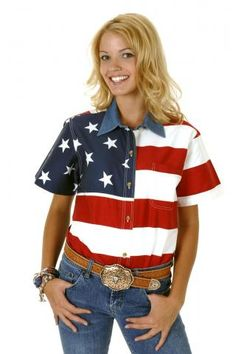 Roper Stars & Stripes Pieced American Flag Patriotic Collection Short Sleeve Urban