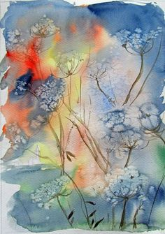 wonderful use of salt in this floral watercolor!