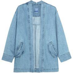 Steve J & Yoni P Denim jacket (€320) ❤ liked on Polyvore featuring outerwear, jackets, coats & jackets, coats, light blue, shiny jacket, jean jacket, light blue jacket, blue jackets and blue jean jacket