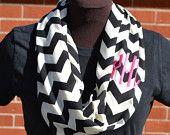 Monogrammed Black & White Chevron Infinity Scarf Knit Jersey. $28.00, via Etsy.