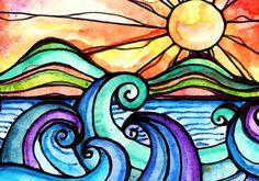 Surf art sunrise print por RobinMeadDesigns en Etsy