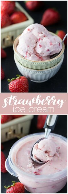 Strawberry Ice Cream - So creamy, sweet and luscious! This fresh ice cream recipe is ready in a matter of hours and super simple to make at home with your ice cream maker. Chocolate Chip Ice Cream, Vanilla Bean Ice Cream, Strawberry Ice Cream, Mint Chocolate Chips, Strawberry Recipes, Frozen Desserts, Frozen Treats, Just Desserts, Delicious Desserts