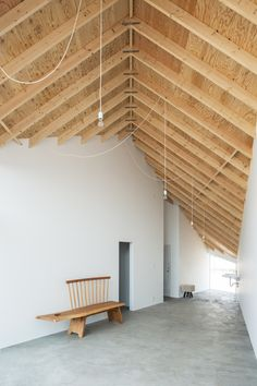"""""""Located in Shiga, Japan, the parallelogram-shaped """"Skyhole"""" house features utilitarian raw wood beams, white walls and concrete flooring. Take the tour…"""" Japan Architecture, Studios Architecture, Wood Architecture, Architecture Details, Japanese Interior, Home Design Plans, Minimalist Home, Minimalist Interior, Minimalist Bedroom"""
