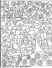 RUG HOOK PAPER PATTERN Village By The Sea ABSTRACT FOLK ART PRIMITIVE - Karla G
