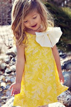 Girls Easter Bubble Dress in Yellow by simplicitycouture on Etsy