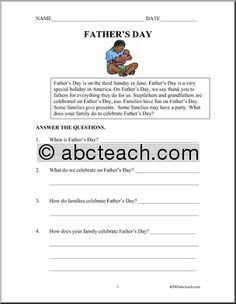 Father's Day Theme Unit - Free Printable Worksheets, Games, and Activities for Kids