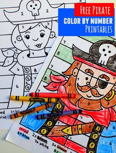 free pirate boy and girl color by number printable sheets