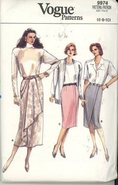 Misses Wrap Skirt Sewing Pattern Vogue 9974 - 3 Variations Size 6-8-10 Uncut