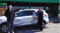 We raffled off a gift basket at last weekend's National Women's Show in #Ottawa. Debbie Billings (seen here beside the Petsecure car) took home the prize! Thanks to everyone who participated!