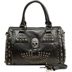 MG Collection Howea Gothic Studded Doctor Shoulder Bag (50 CAD) ❤ liked on Polyvore featuring bags, handbags, shoulder bags, studded purse, gothic purses, studded shoulder bag, gothic shoulder bags and gothic handbags