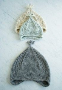 Garter Ear Flap Hat free knitting pattern from The Purl Bee Baby Knitting Patterns, Knitting For Kids, Free Knitting, Baby Patterns, Crochet Patterns, Embroidery Patterns, Bee Embroidery, Baby Hats Knitting, Knitting Ideas