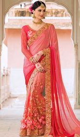 Pink and Red Color Shaded Net Silk Embroidered Sari  #expensivedesignersarees #sareedesigns Stun the crowd wearing this pink and red color shaded net silk embroidered sari. The ethnic lace, resham and sequins work in suit adds a sign of magnificence statement to your look. Upon request we can make round front/back neck and short 6 inches sleeves regular sari blouse also.  USD $ 245 (Around £ 169 & Euro 186)