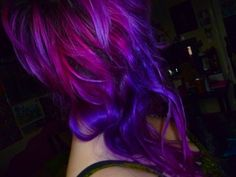 hair, hair color, multi-colored hair, purple hair, purple, pink, pink hair