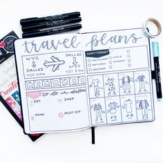 Organize Your Travel Plans in Your Journal : Meagan ( has come up with a brilliant layout for travel plans that I can definitely use in my journal! She's so creative! Supplies from Kelly Creates: Creative Journal… Organize Your Trav Bullet Journal Voyage, Bullet Journal Travel, Bullet Journal Quotes, Bullet Journal Ideas Pages, Bullet Journal Layout, Bullet Journal Inspiration, Bullet Journal Packing List, Trip Journal, Bullet Journals