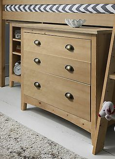 Cabin Bed Midsleeper Sleepstation with Chest of Drawers, Cabinet, Desk Kids Mid Sleeper Cabin Bed, High Sleeper Bed, Cabin Bed With Desk, Wood Chest, Kid Desk, Built In Desk, Chest Of Drawers, Bookshelves, Bedroom Furniture