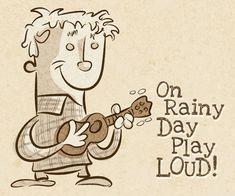 On a rainy day play loud! Ukulele illustration.