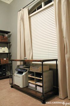 Industrial Vintage Office Make-Over; Drop cloth drapes and pipe curtain rod with DIY pipe printer cart