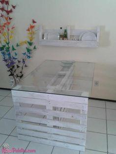 Mesa y repisa de tarima reciclada pintada de blancon algo asi para comedor :D diseñado al gusto siiii