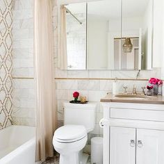 White and Brown Bathroom Design