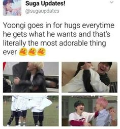 Yoongi's hugs are probably the best ever and I want one of them T^T