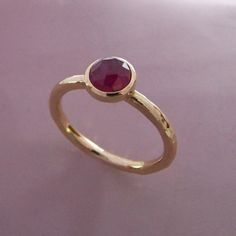 Rose Cut Ruby Ring in Hand Hammered Gold - Elizabeth Scott Jewelry Diamond Bands, Diamond Wedding Bands, Silver Stacking Rings, Silver Rings, Ruby Ring Simple, Cute Rings, Ring Verlobung, Gold Engagement Rings, Stone Rings