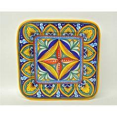 "Antico Geometrico 10X10"" Square Plate handmade in Deruta, Italy. I love square dinner plates!"