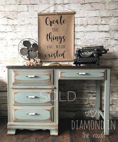 painted vintage desk - painted furniture #affiliate