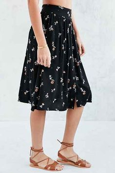 Ecote Kara Ditsy Button-Front Midi Skirt - Urban Outfitters