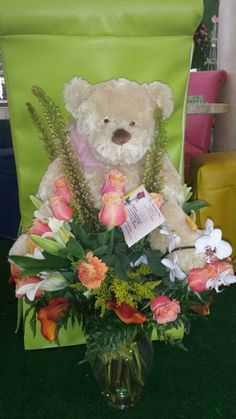 Teddy with peach roses #expressfloral