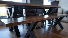 Large Modern Rustic Solid Wood Industrial X-Legs Dining Table by JH Custom Fabrication - Aris Design Table, Dining Table, Bench, Blackbutt, Black Butt, Industrial, Steel, Metal