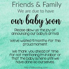 Baby announcement etiquette