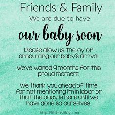Baby announcement etiquette