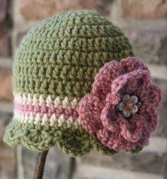 crochet owl beanie | Girls Scallop Crochet Beanie-Green with Stripes :: Pretty in Pink ...