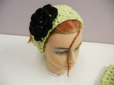 Crocheted Spring Green Color Scalloped Pattern  Ear by lanesamarie, $19.95