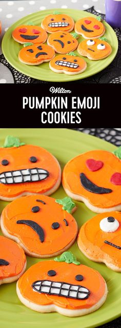 Pumpkin Emoji Cookies - Forget carving pumpkins this year, with these Pumpkin Emoji Cookies, you can make your pumpkin as expressive as you'd like! Make a heart-eye pumpkin for the boy or ghoul you love…or make spooky grinning pumpkins to hand out to your favorite trick-or-treaters. A fun project to do with the kids, these Pumpkin Emoji Cookies are sure to become a well-loved Halloween tradition.