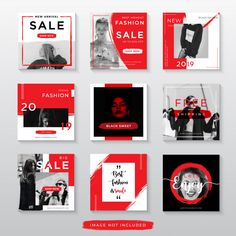 Red Fashion Sale For Social Media Post Template Social Media Poster, Social Media Banner, Social Media Design, Social Media Art, Instagram Design, Instagram Grid, Instagram Banner, Fashion Sale, Red Fashion