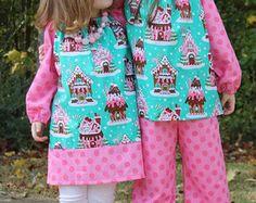 SALE Christmas Gingerbread Dress Michael Miller fabric Baby, toddler, and girls sz 12m, 18m, 24m/ 2, 3,4,5,6,7,8 pink christmas, green, dot
