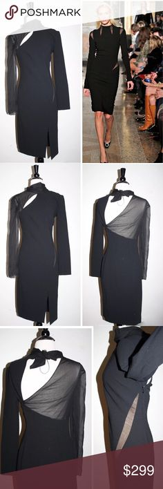 """EMILIO PUCCI BLACK CUT OUT WOOL & SILK DRESS NWT EMILIO PUCCI DRESS  stunning!   $1990 retail price, new with tags!    Details:      So much detail! Cut outs & a choker neck that ties in the back. The cut & fit is amazing. Made in Italy. Stun at your next holiday party.  Size IT42/US8 runs small I would say it fits 4/6 best: armpit to armpit 16"""", waist flat 13"""",length 40"""" Emilio Pucci Dresses Long Sleeve"""